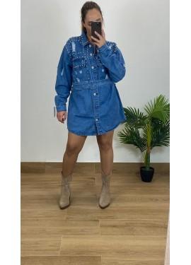 Vestido Tachas Vaquero