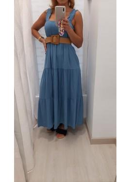 Vestido Frunces Azul